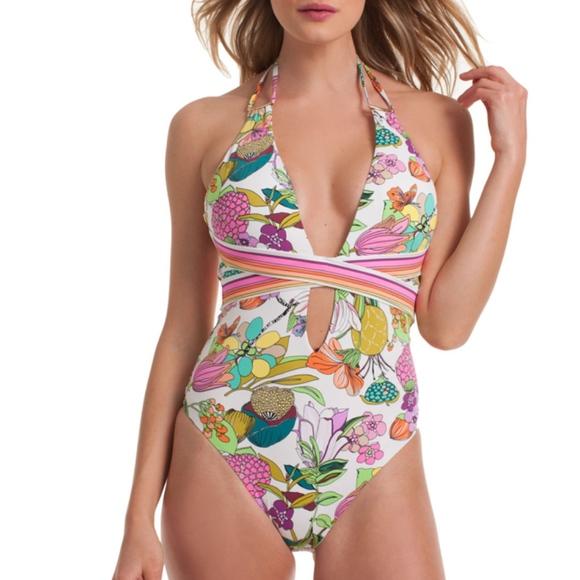 37e6a6133d0 Trina Turk Swim | Key West Botanicals Plunge One Piece | Poshmark
